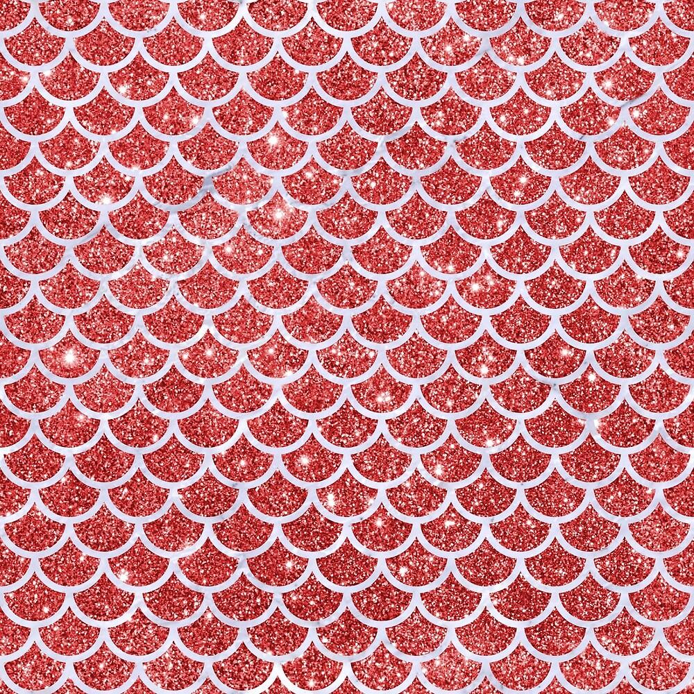 SCALES1 WHITE MARBLE & RED GLITTER by johnhunternance