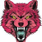 Neon wolf head by N E T H A R T I C