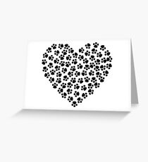 Puppy Paw Print Hearts Love My Dog Paw Prints Greeting Card