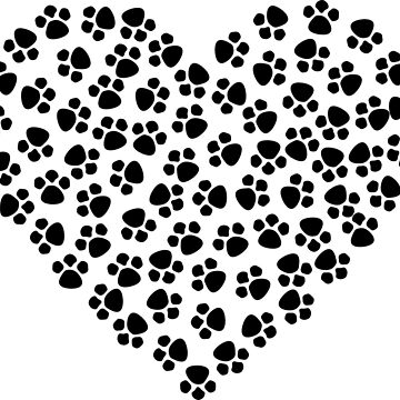 Puppy Paw Print Hearts Love My Dog Paw Prints by EpicDiscounts