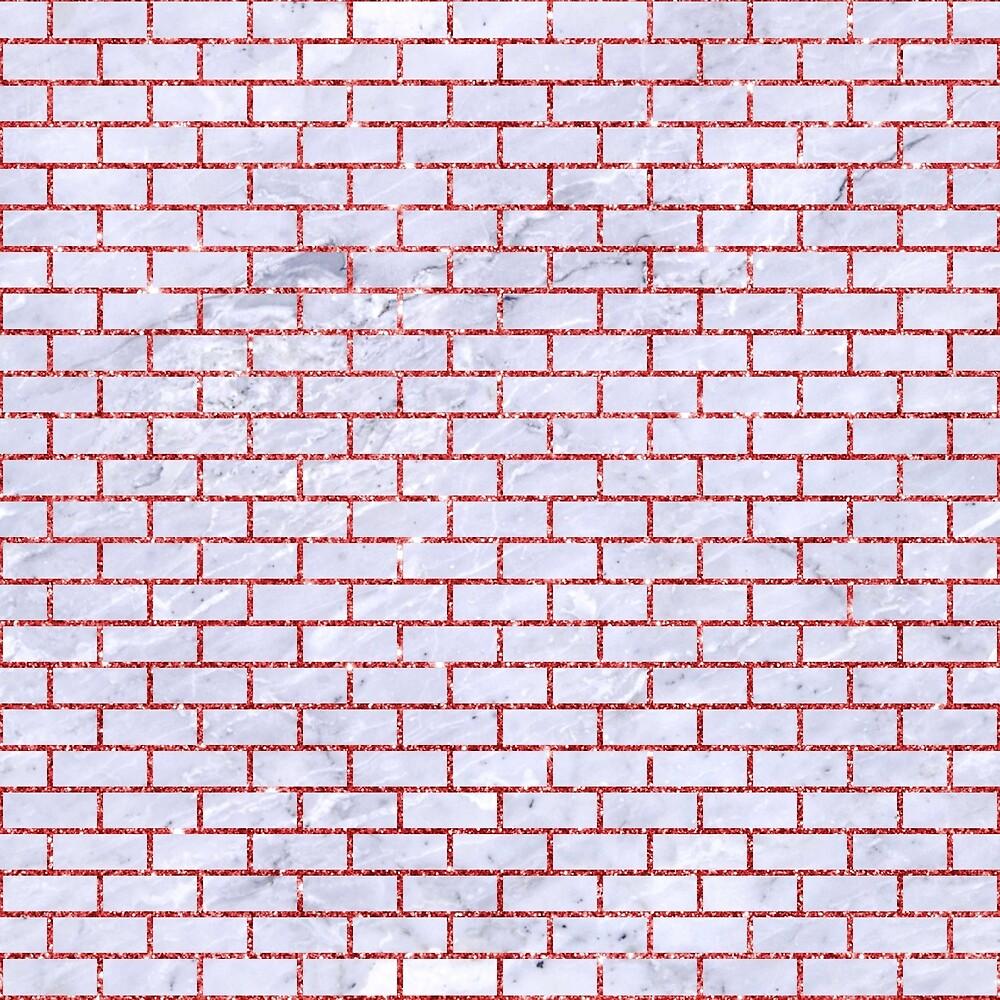 BRICK1 WHITE MARBLE & RED GLITTER (R) by johnhunternance
