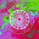 Mandala Vibes in pink & green by danita clark