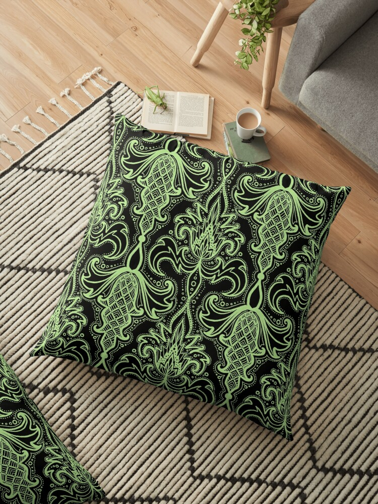 mint and black gothic damask by beesocks