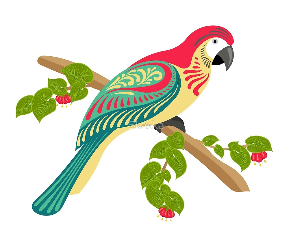 Parrot on a branch with flowers, tropical leaves. by Skaska