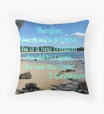 Pebbly beach North Coast NSW with 2 Cor 5:17 Throw Pillow