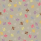 Multi coloured bees on taupe background by jaggedfin