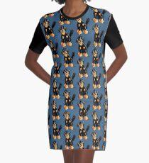 Funny Hovawart Cartoon Graphic T-Shirt Dress