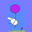 Cute whimsical sheep with balloon by FrogFactory