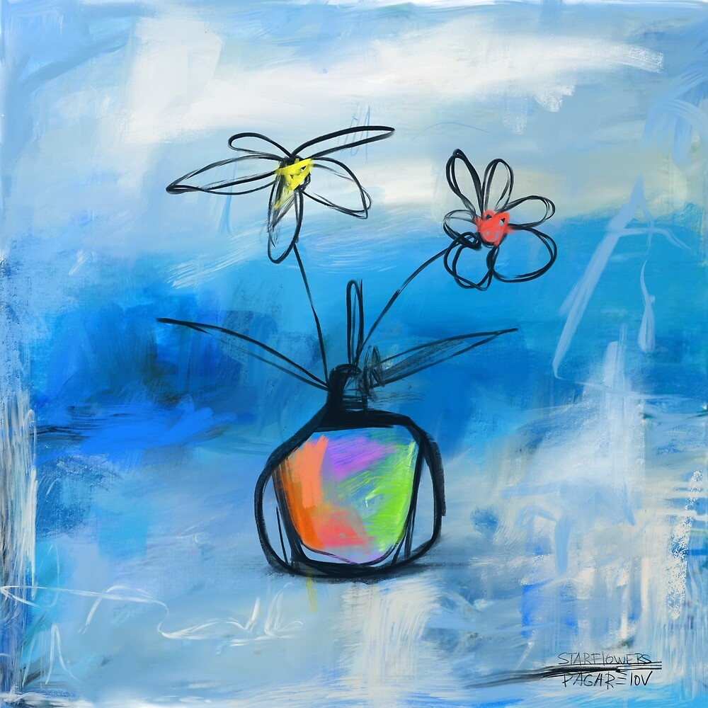 Star Flowers modern abstract oil painting by found in  Atlantis