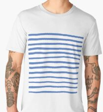 Blue hand drawn stripes  Men's Premium T-Shirt