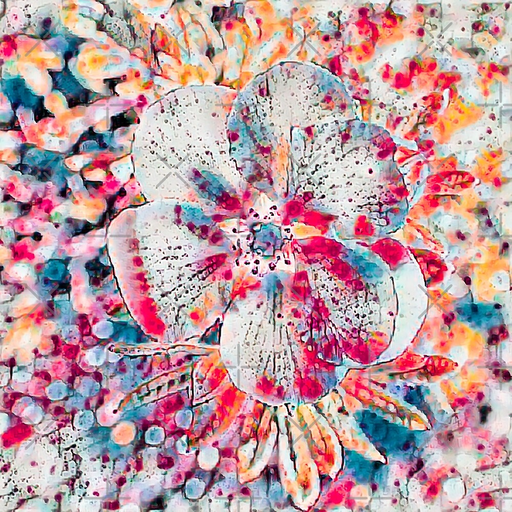 Potentilla Flower Psychedelic by Leslie Montgomery