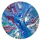 Round Blue Abstract Painting by Maria Meester