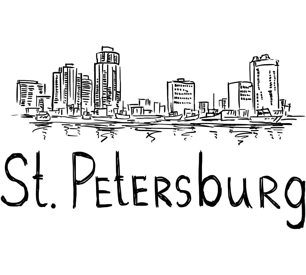 St. Petersburg City Panorama black by MichaelRellov