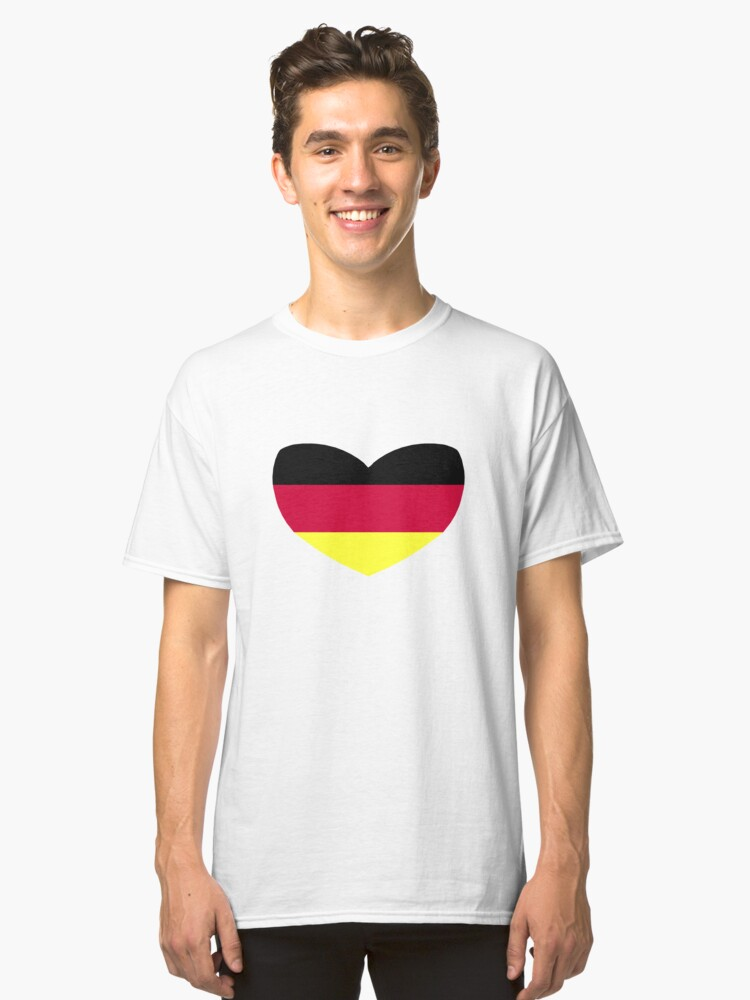 Love Germany Heart Shaped German Flag Classic T-Shirt Front