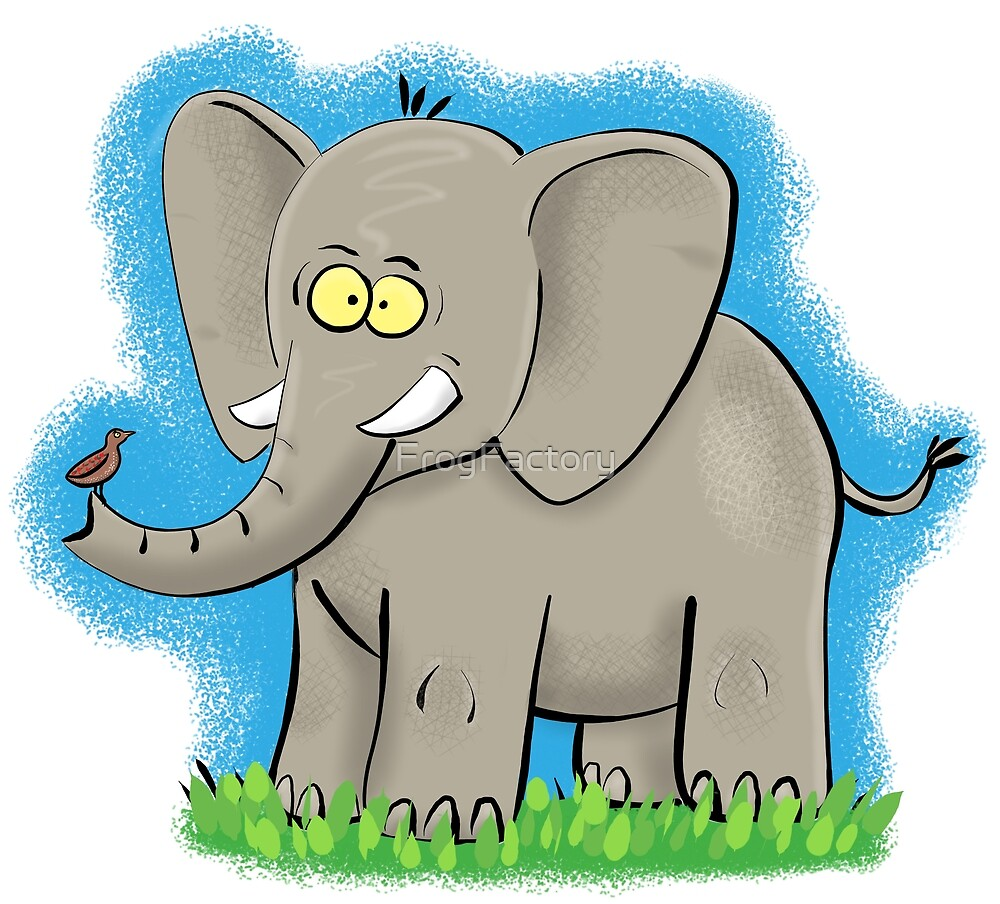Cute, happy elephant cartoon by FrogFactory