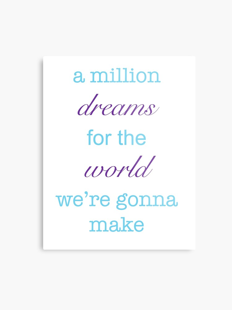 graphic relating to A Million Dreams Lyrics Printable named A Million Desires Lyrics Metallic Print