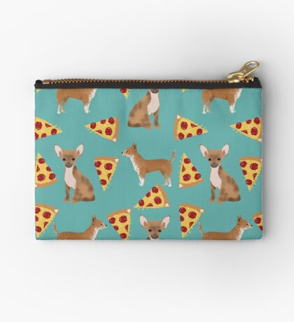 Chihuahua pizza dog breed pet pattern animal lovers Zipper Pouch