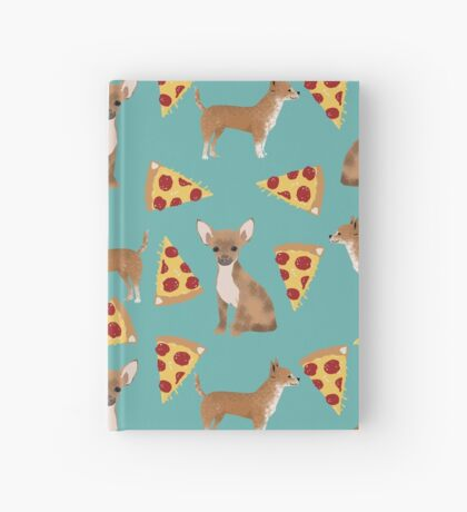 Chihuahua pizza dog breed pet pattern animal lovers Hardcover Journal