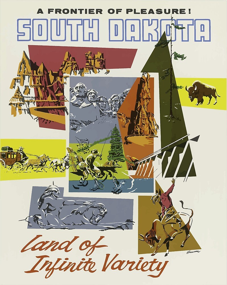 Vintage Travel Poster South Dakota USA by simbamerch