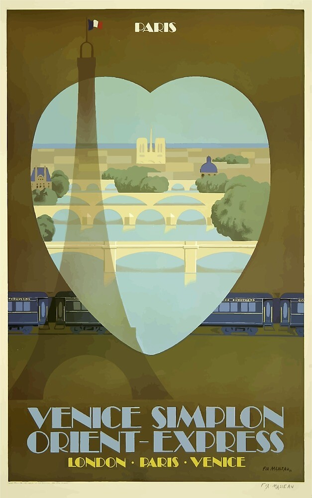 Vintage Travel Poster Paris France Orient Express by simbamerch
