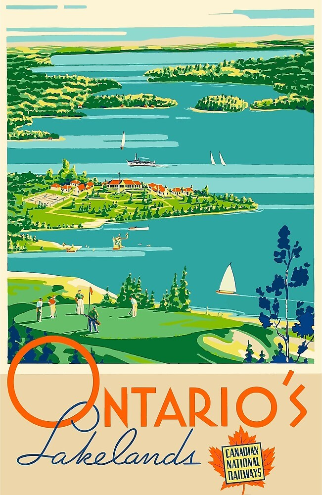 Vintage Travel Poster Ontario Canada by simbamerch