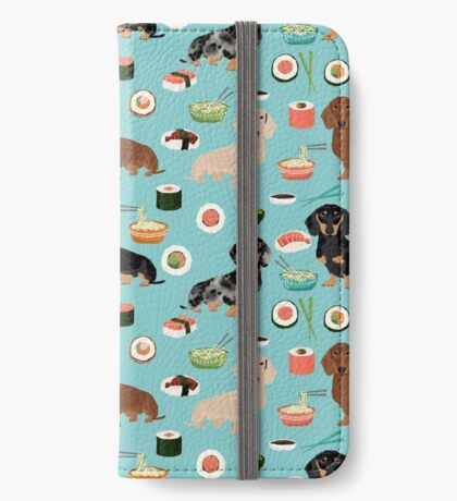 dachshund sushi dog breed pet pattern animal lovers iPhone Wallet
