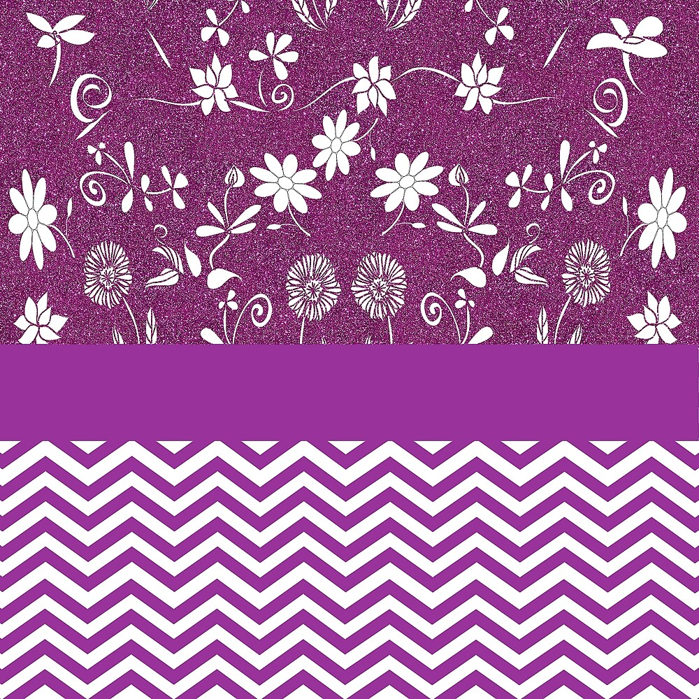 Purple floral pattern with chevrons by GryThunes
