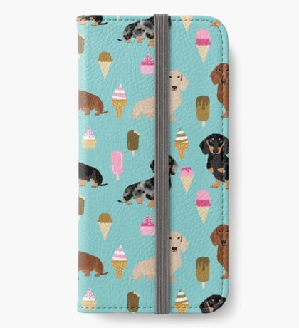 dachshund ice cream dog breed pet pattern animal lovers iPhone Wallet
