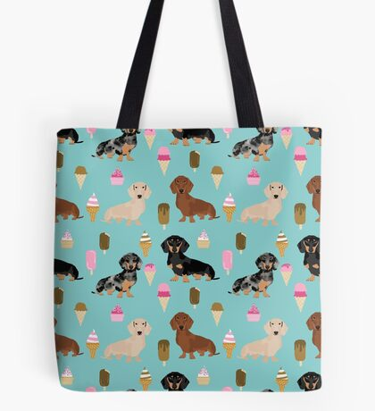 dachshund ice cream dog breed pet pattern animal lovers Tote Bag
