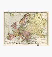 Atlas Map of Europe (1912) Photographic Print