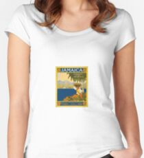 Jamaica The Gem Of The Tropics Vintage Travel Poster 1910 Women's Fitted Scoop T-Shirt