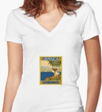 Jamaica The Gem Of The Tropics Vintage Travel Poster 1910 Women's Fitted V-Neck T-Shirt