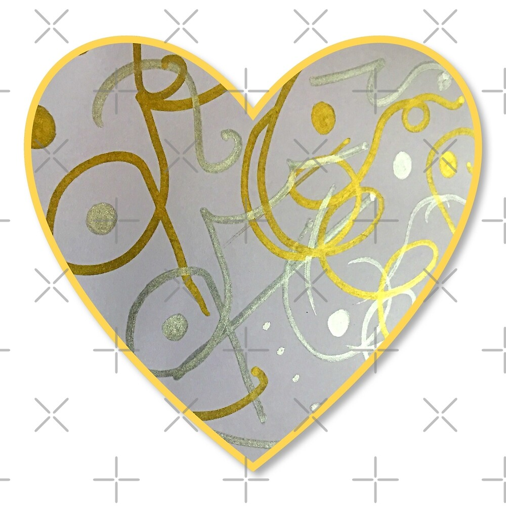 Hand painted metallic silver and gold heart design.  by KrisMartin1834