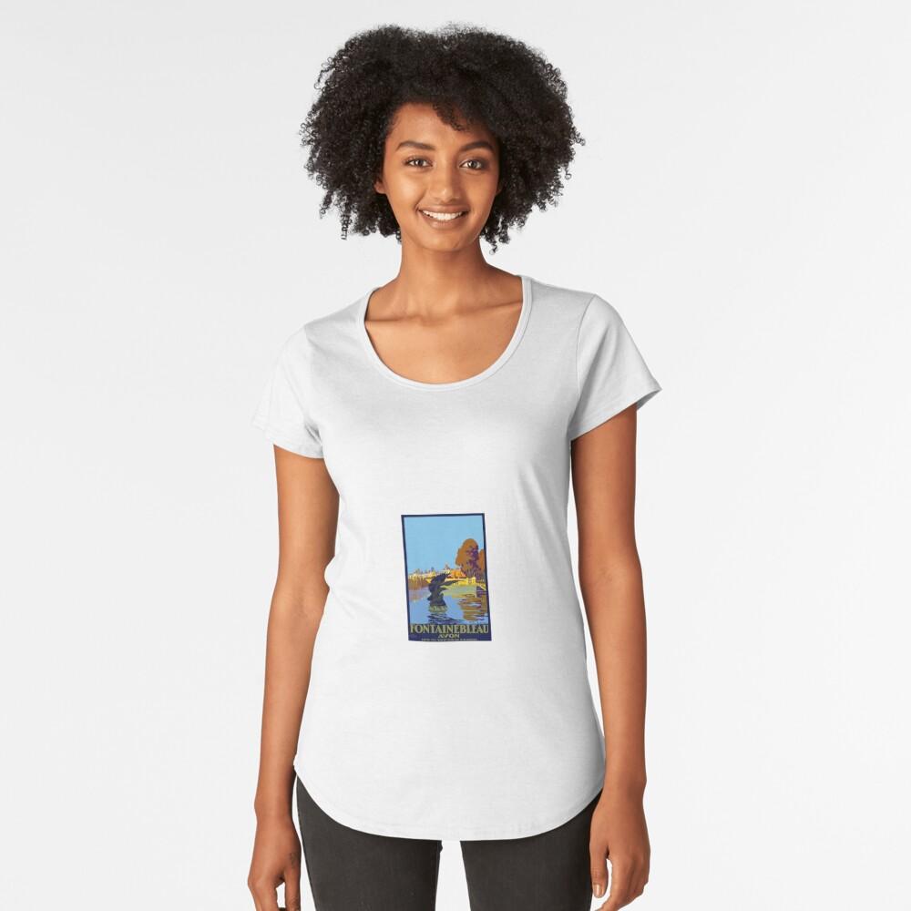 Vintage Travel Poster Fontainebleau Paris France Women's Premium T-Shirt Front