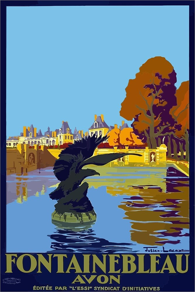 Vintage Travel Poster Fontainebleau Paris France by simbamerch