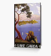 Vintage Travel Poster Lake Garda Italy 1924 Greeting Card