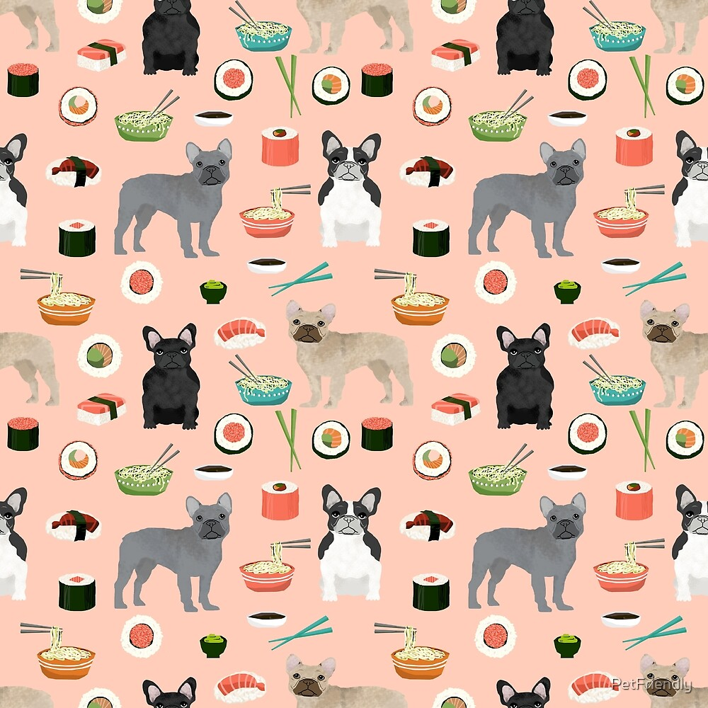 french bulldog sushi dog breed pet pattern frenchies animal by PetFriendly