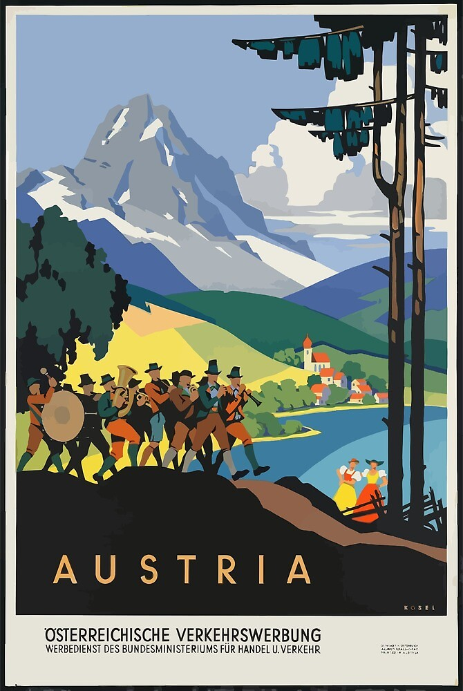 Vintage Travel Poster Austria by simbamerch