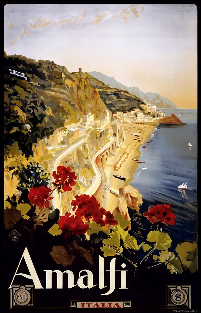 Vintage Travel Poster Amalfi Italy by simbamerch