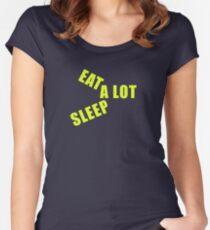 Camiseta entallada de cuello redondo Streetwear Graphic Tees Comer Mucho  Sueño Mucho Idea de regalo Ropa 2072304b9ed46