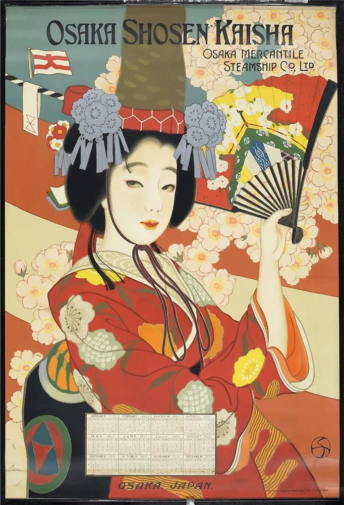 Vintage Travel Poster Osaka Japan 2 by simbamerch