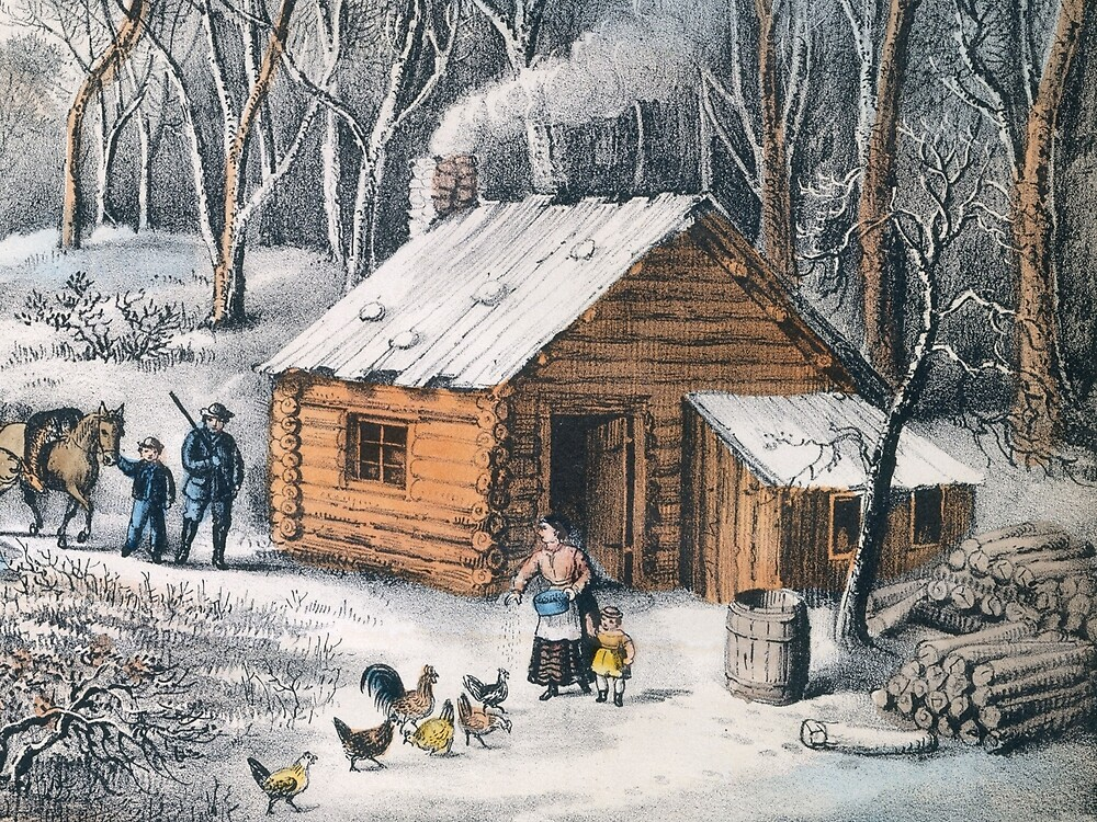 Vintage Home in The Wilderness Painting (1870) by BravuraMedia
