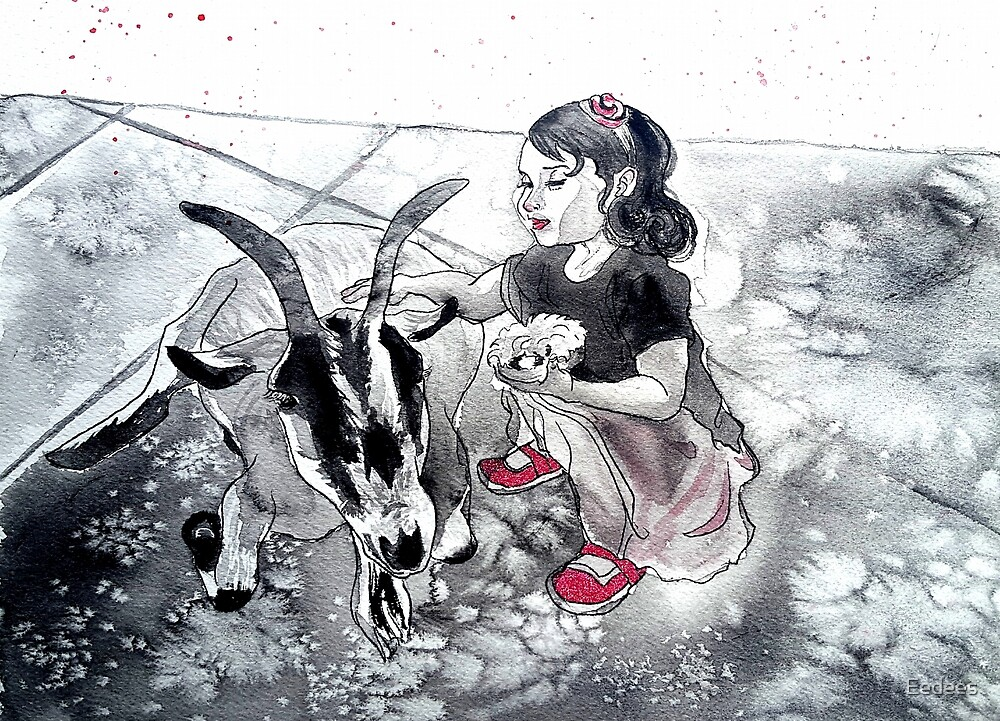 Little witch with her goat by Eedees