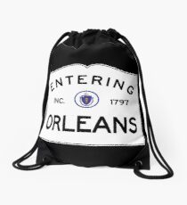 Entering Orleans Massachusetts - Commonwealth of Massachusetts Road Sign - Cape Cod Drawstring Bag