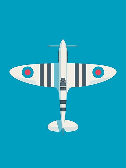 Supermarine Spitfire WWII RAF Fighter Aircraft - Stripe Cyan by ivankrpan