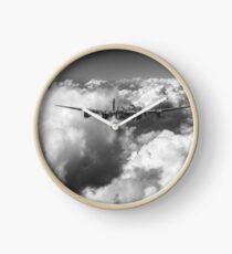 Avro Lancaster above clouds B&W version Clock