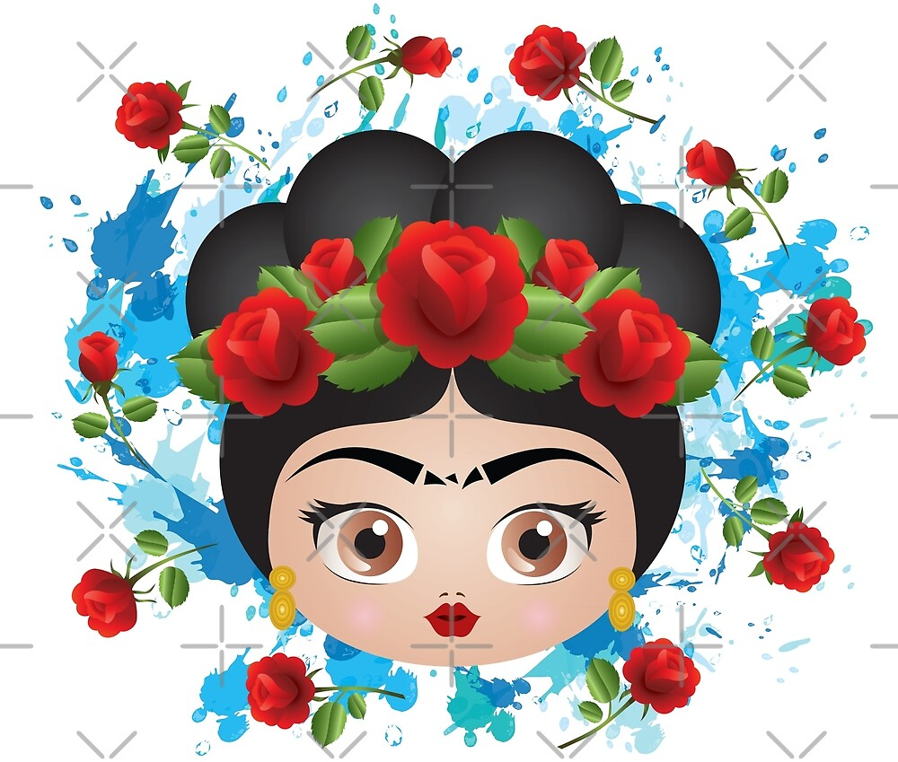 Frida Kahlo Cute Roses Pattern Mexico by mimogoshopping