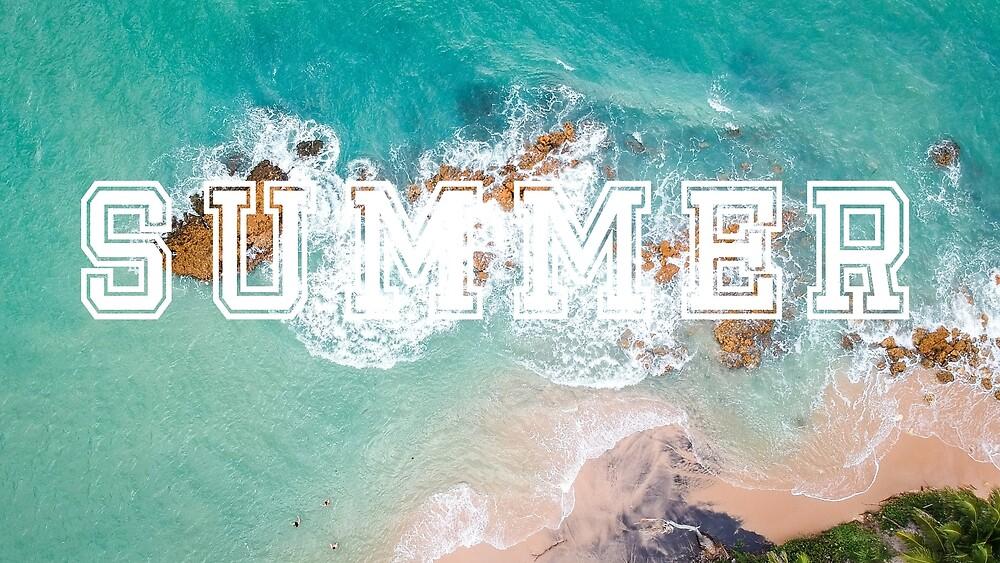 Summer transparent word against sea background by Ben Morley