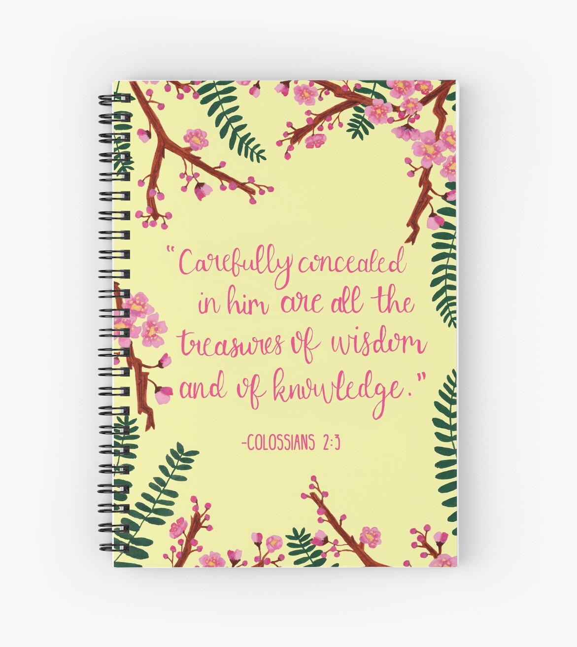 Scripture Spiral Notebook- Colossians 2:3 by CeliaShop