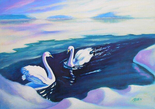 Arctic Swans I by Mai Kari  Hartvaag Zimbleman
